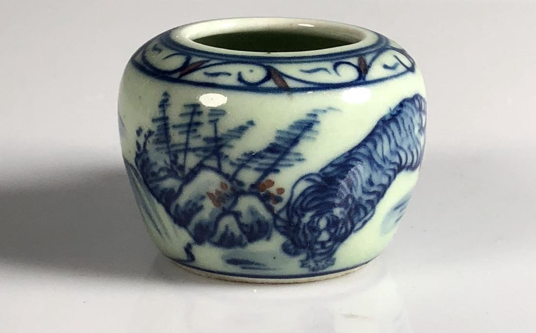 Blue and White Porcelain Tiger Cup with wood Handle