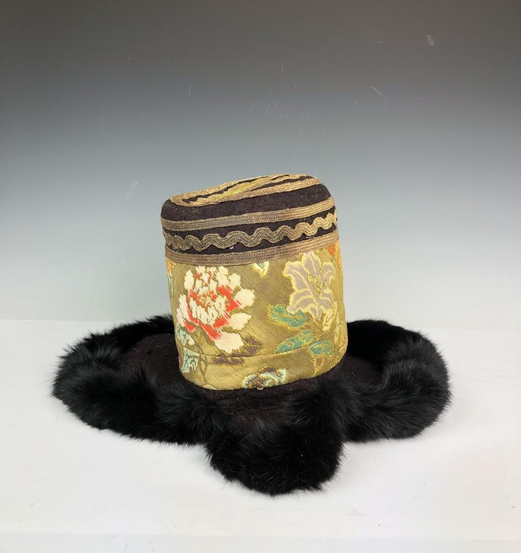 Embroidered Silk Hat with Fur