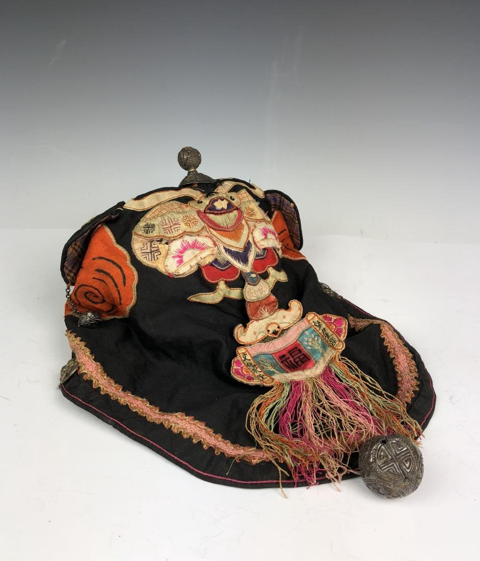 Embroidered Silk Hat with Tassel and pendant