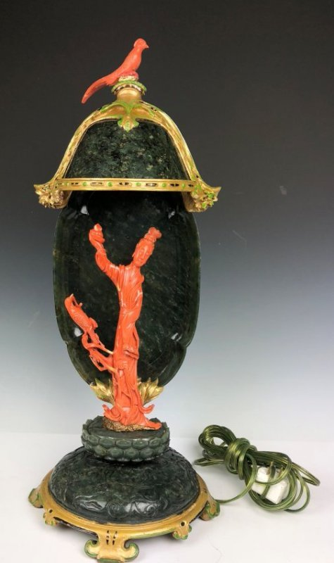 Edward I Farmer Coral & Green Jade Guan Yin Lamp