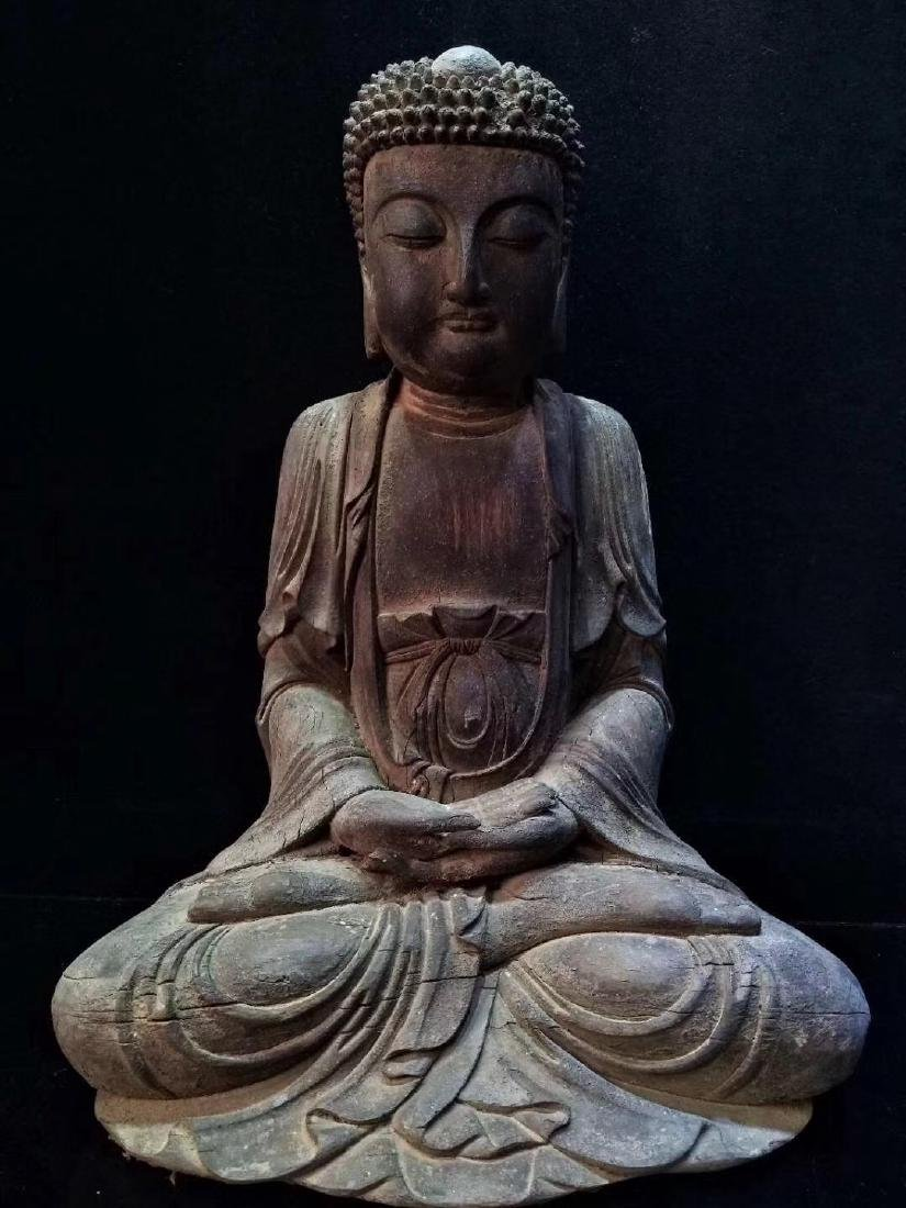 Carved Wooden Figure of Seated Buddha