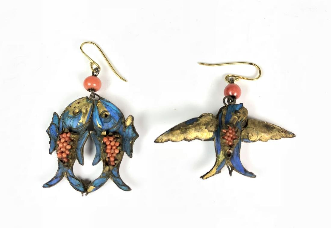 Pair of Kingfisher Feather Earrings of Fish