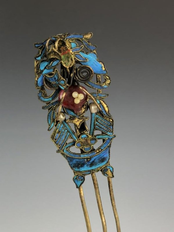Kingfisher Feather and Gilt Hair Pin