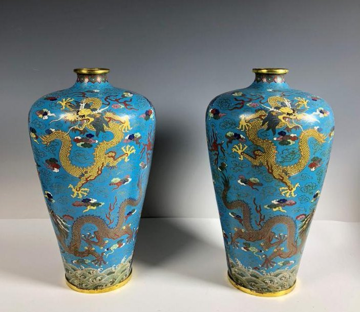 Pair of Cloisonne Enamel and Gilt Plum Dragon Vases