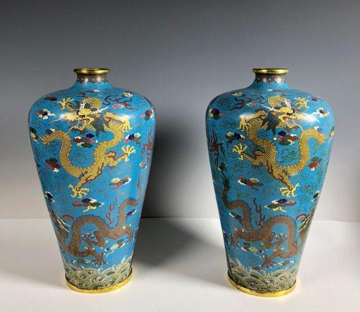 Pair of Cloisonne Enamel and Gilt Plum Dragon Vases