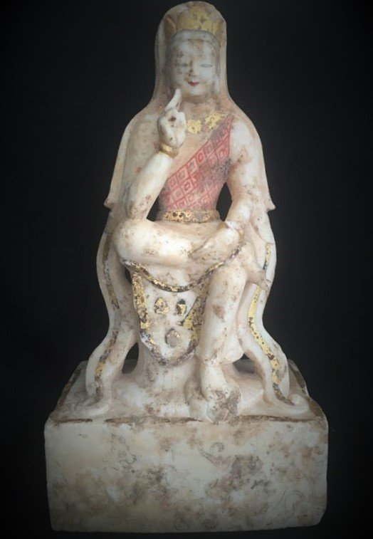 Carved Marble Figure of Guan Yin with Characters