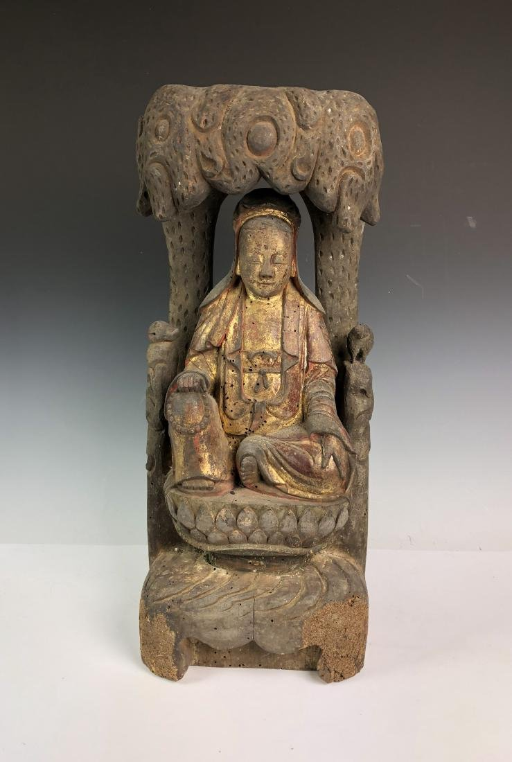 Carved Wood Figure of Guan Yin