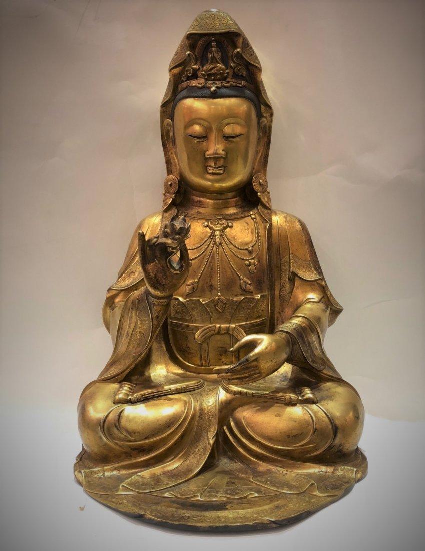 Large Gilt Bronze buddha Of GuanYin