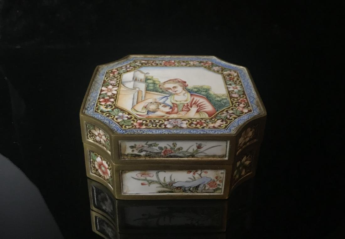 Bronze and Enamel Box with Mark