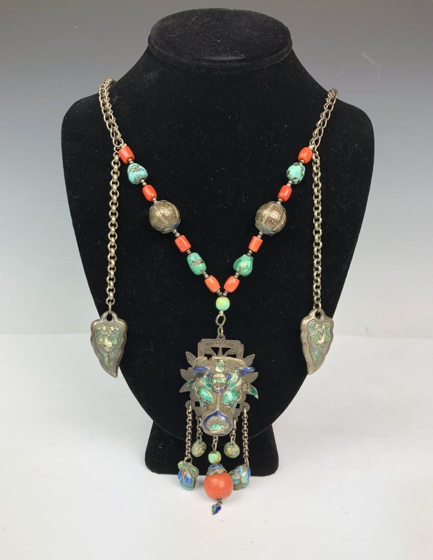 Coral and Turquoise on Silver Chain Necklace