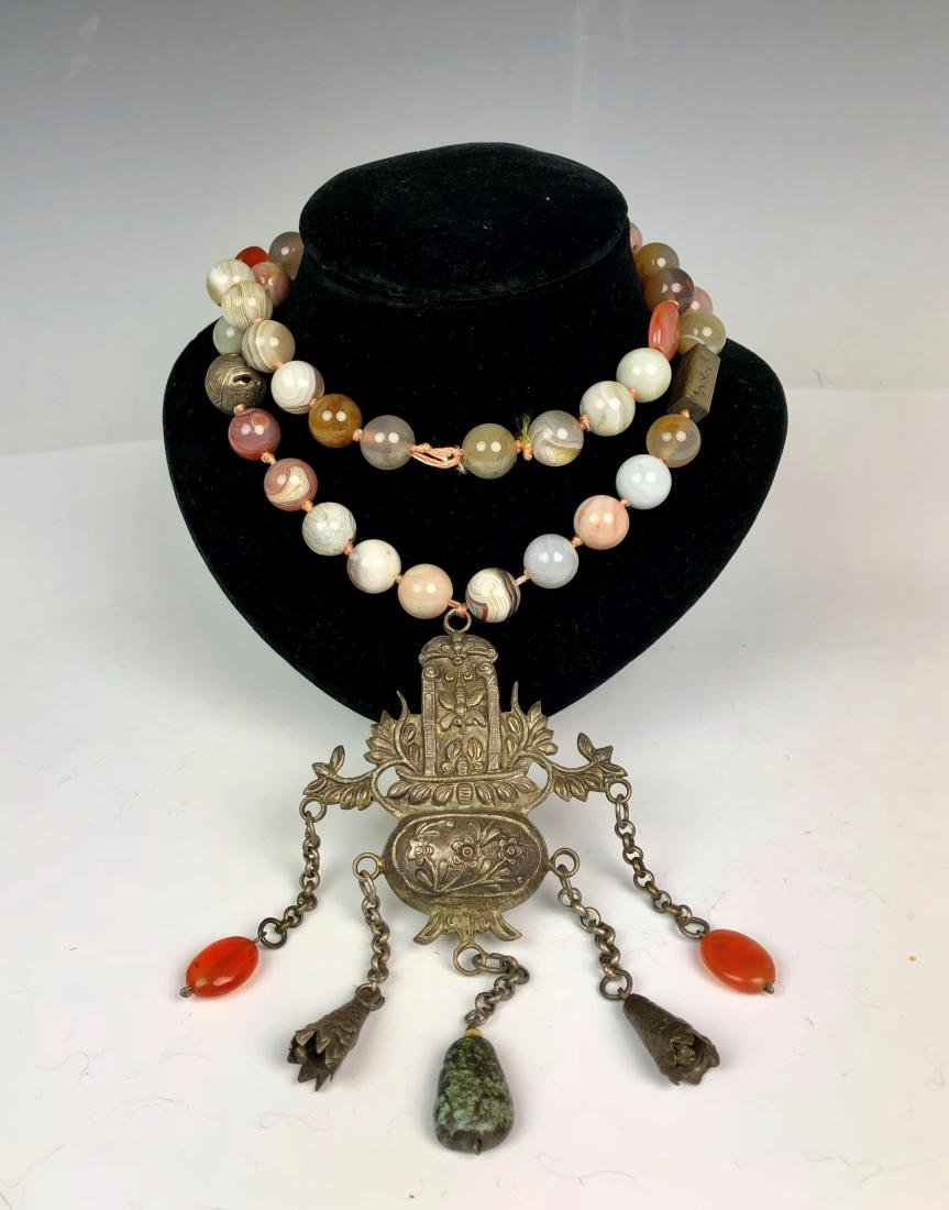 Agate and Silver Necklace with  Multi Colored Stones