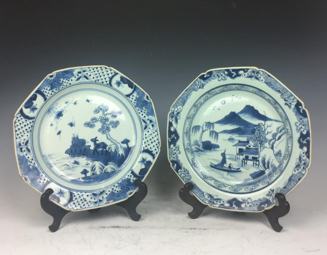 Pair of Octagon Shaped Blue and White Plates
