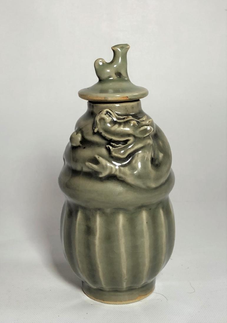 Green Glazed Porcelain Jar with Lid