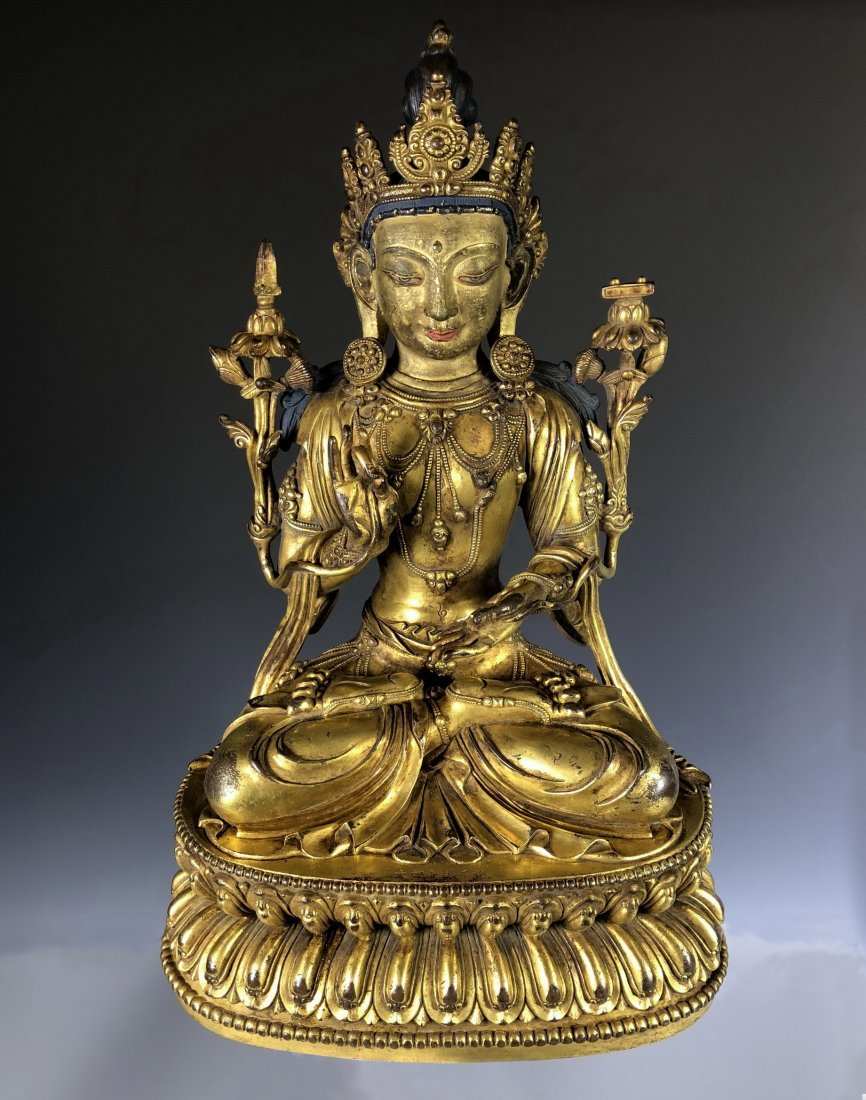 Large Gilt Bronze Figure of Bodhisattva with Mark