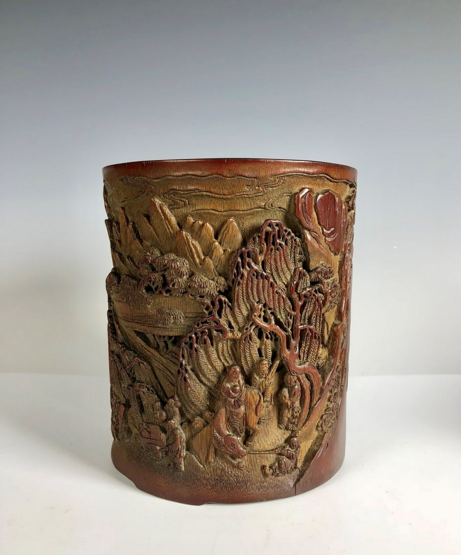 Carved Bamboo Brush Pot with Chinese Mark