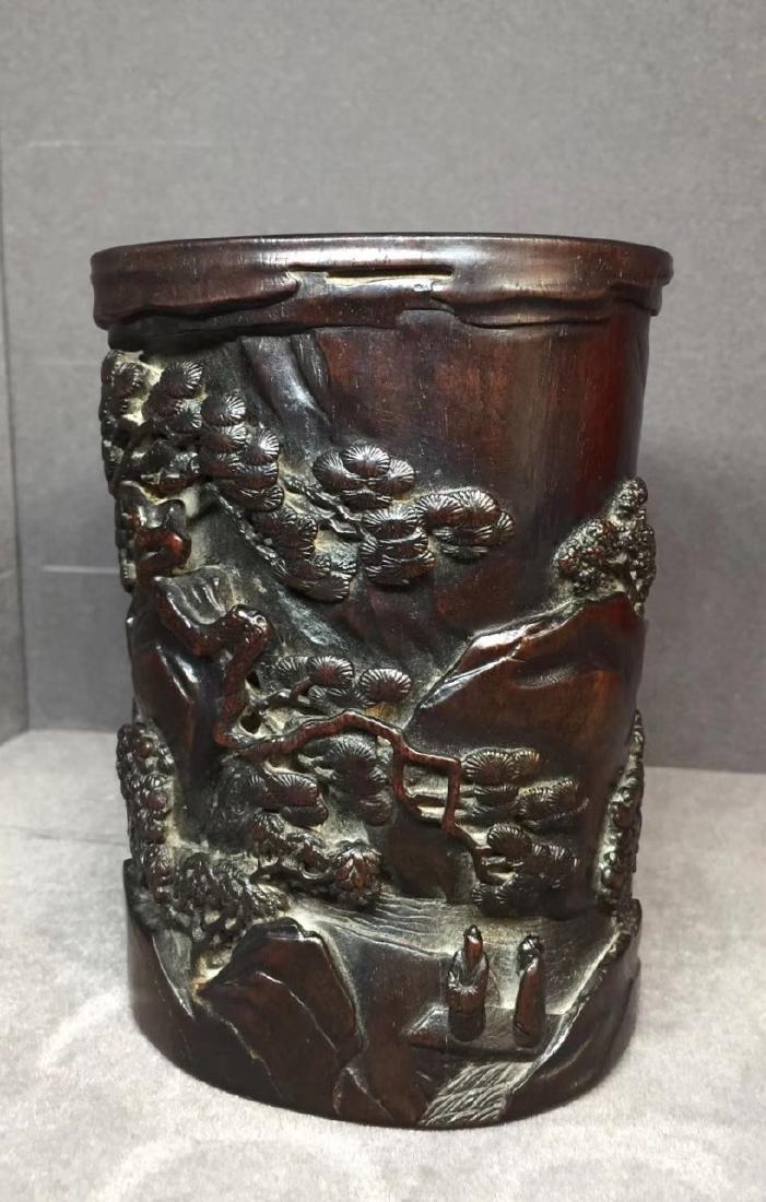Carved Zitan Wood Brush Pot