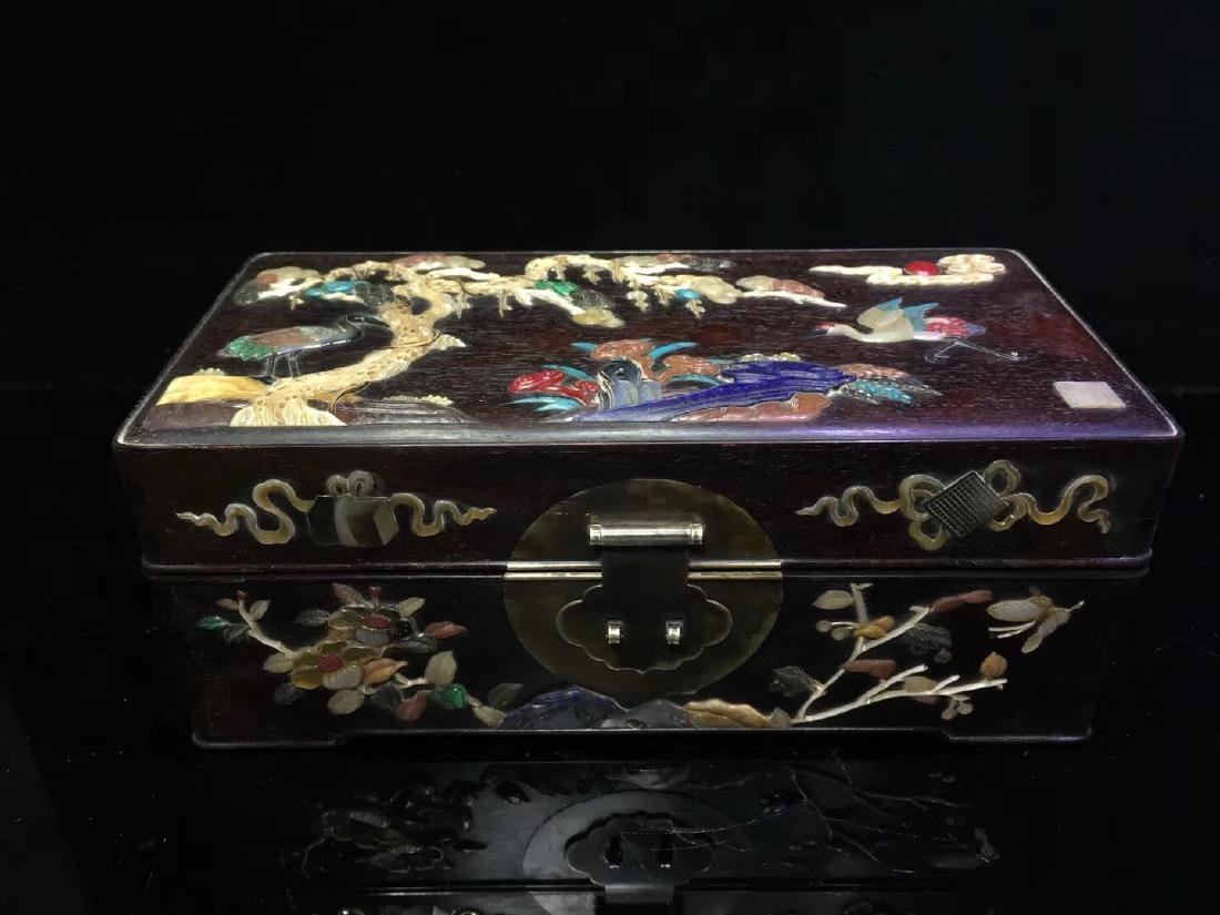 Zitan Wood Box with Stone Inlay