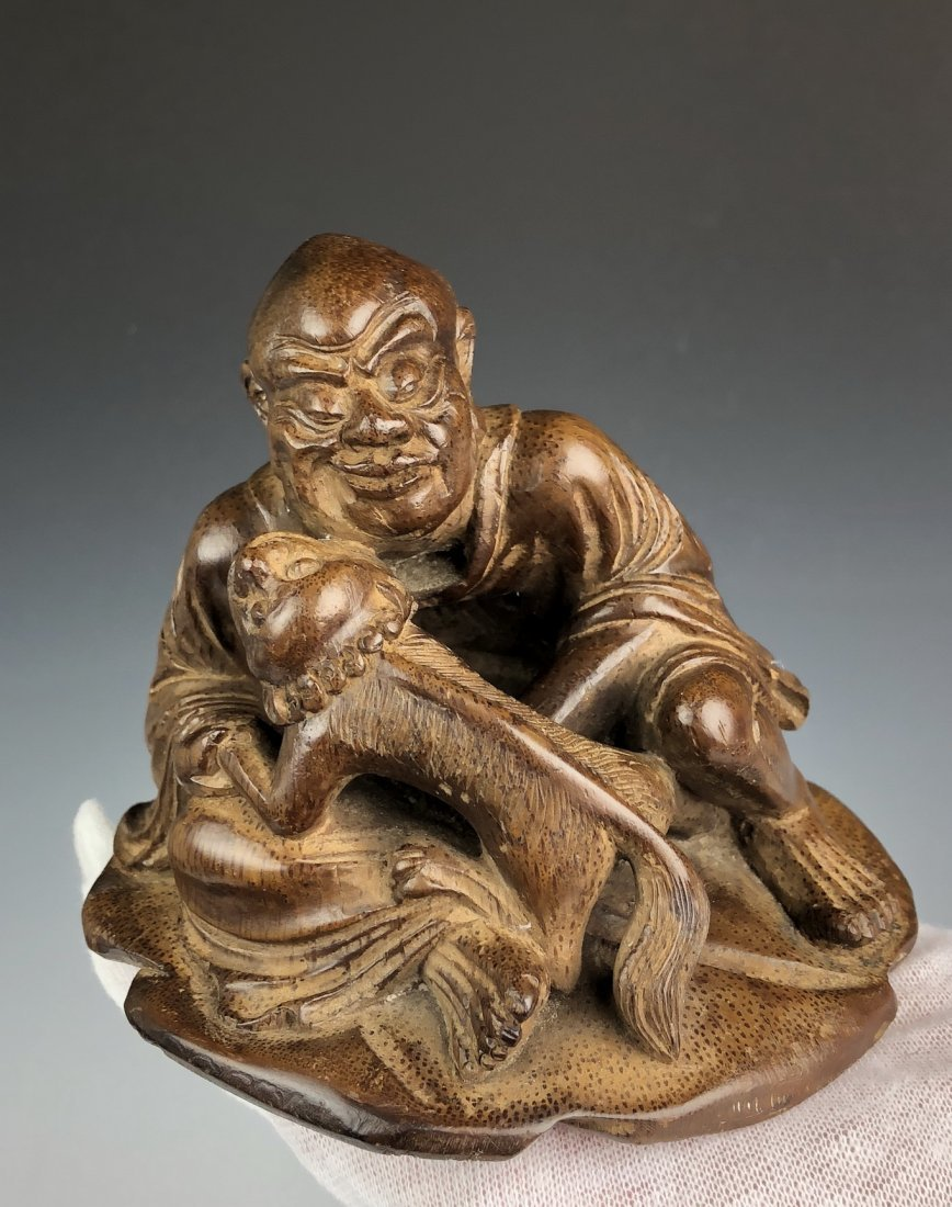 Carved Bamboo Figure of Man and Beast