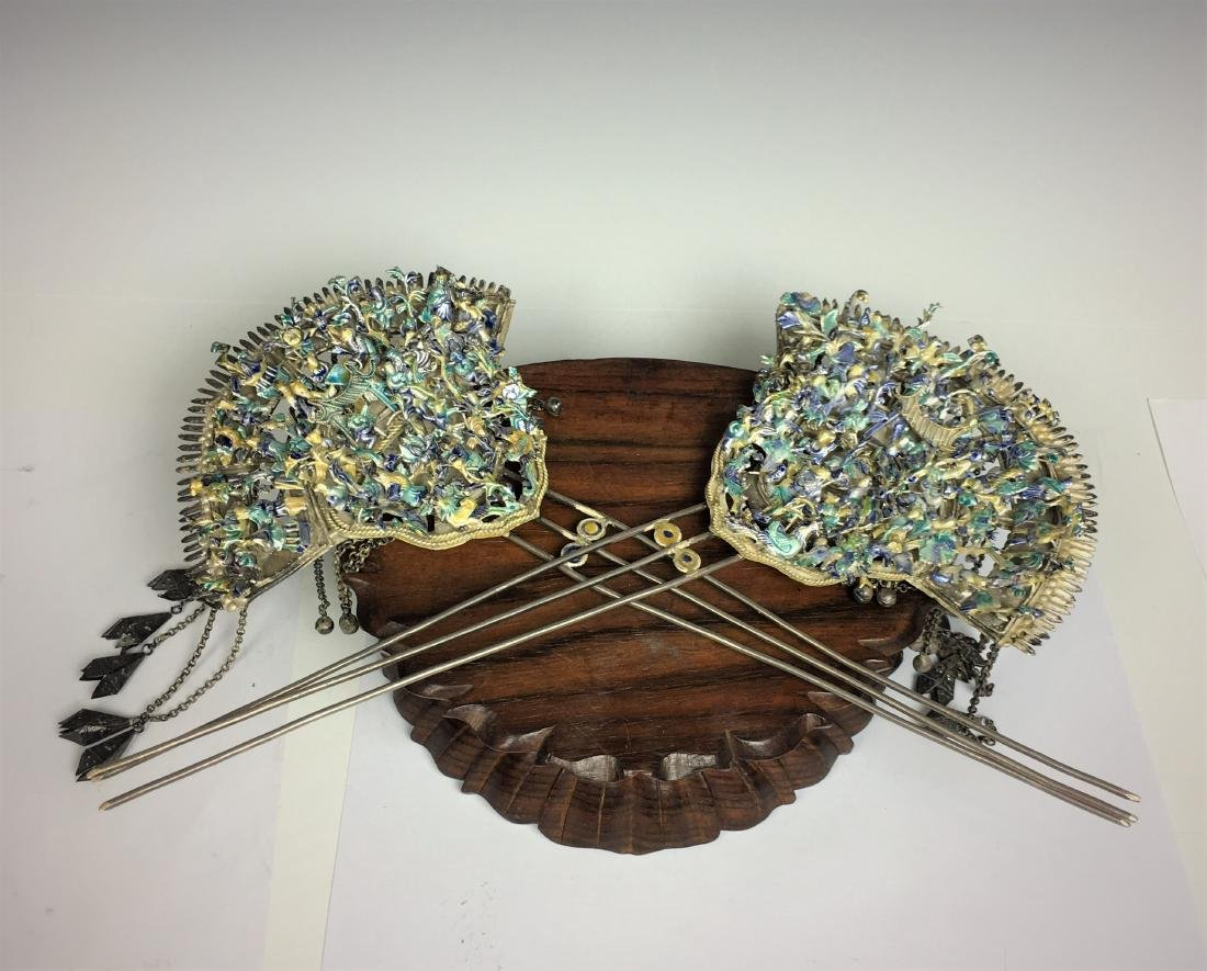 Pair Kingfisher Feather Ceremonial Hair Pins