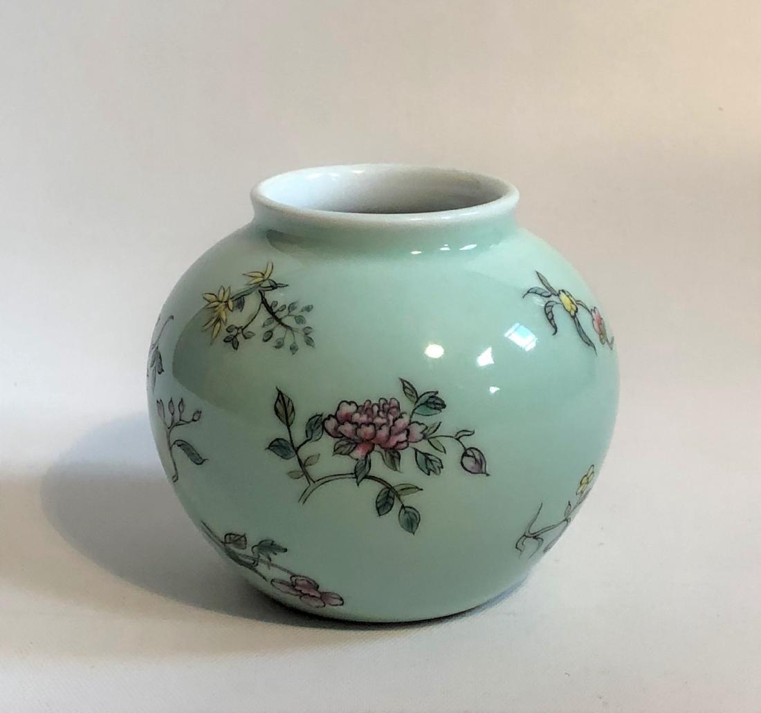 Glazed Porcelain Flower Vase with Mark