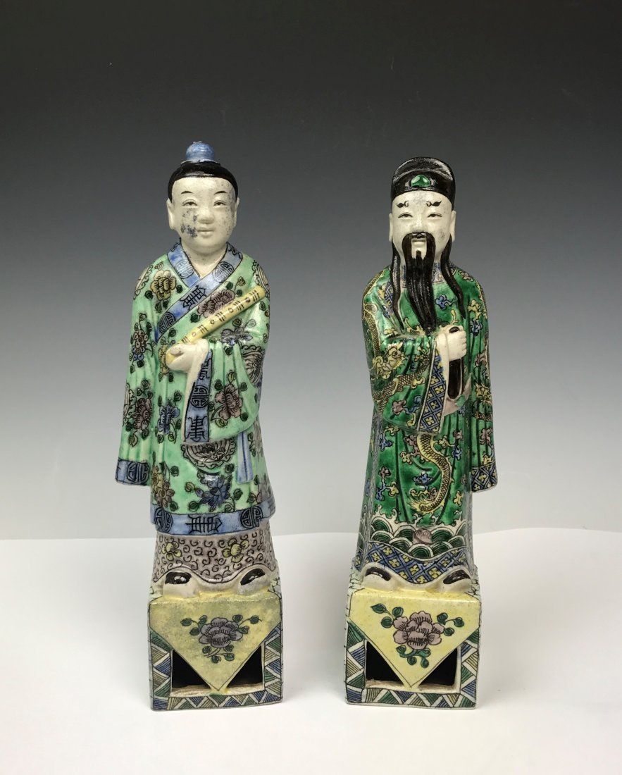 Pair of Porcelain Figures of Scholars