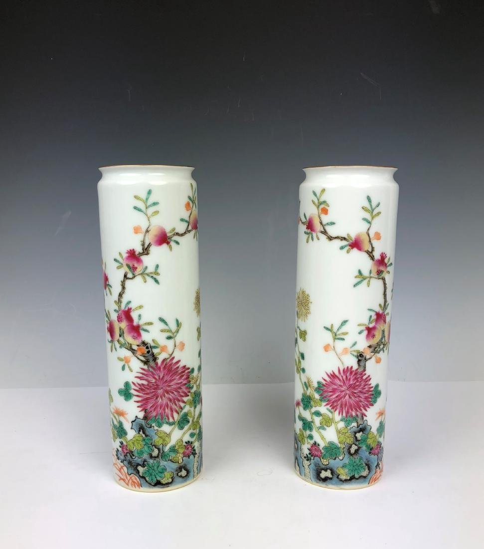 Pair of Famille Rose Porcelain Vase with Mark
