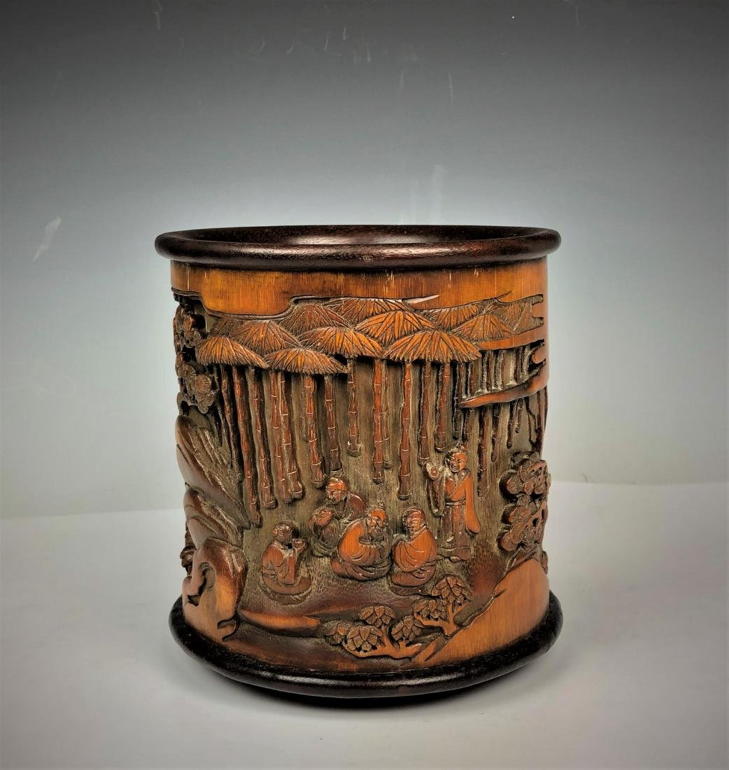Carved Bamboo Brush Pot with characters