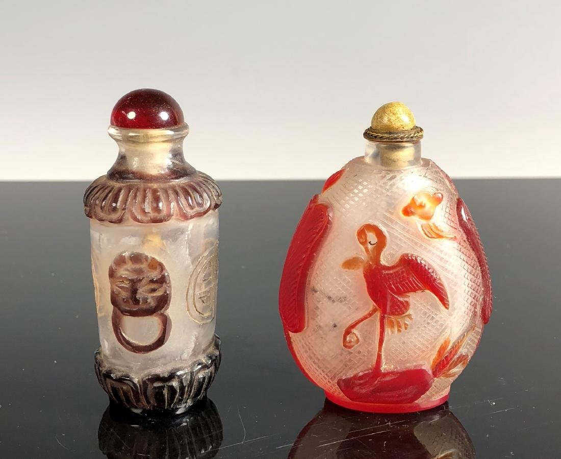 Pair of Glass Snuff Bottles With Top