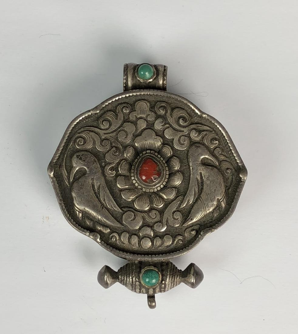 Old Silver Pendant With Stones