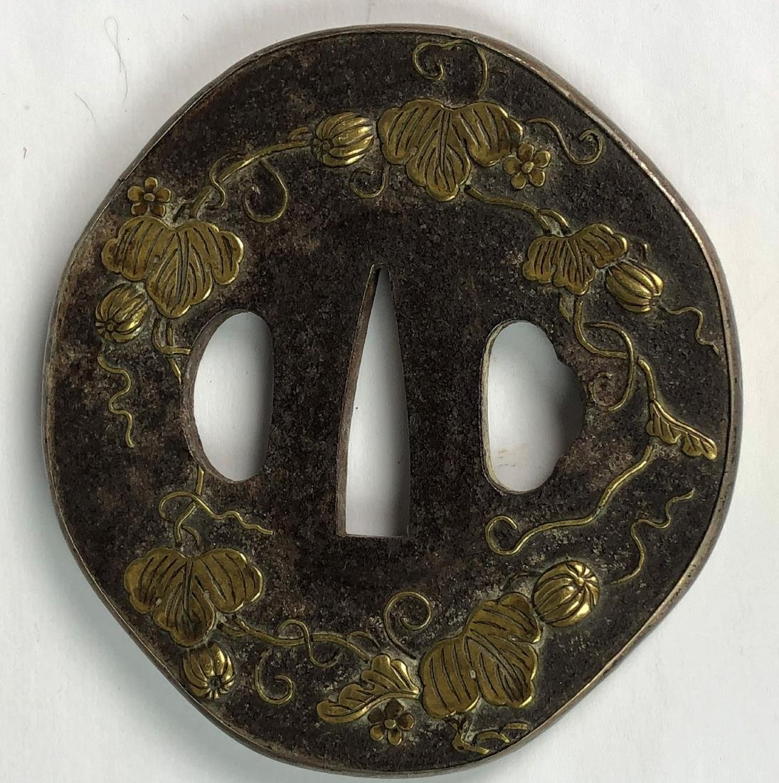 Japanese Sword Tsubas with Gilt Floral Pattern