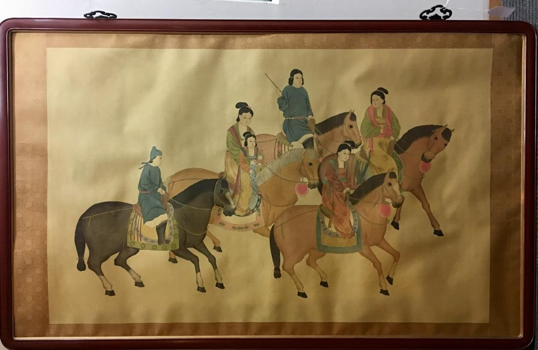 Painting of Family on Horses in Wood Frame
