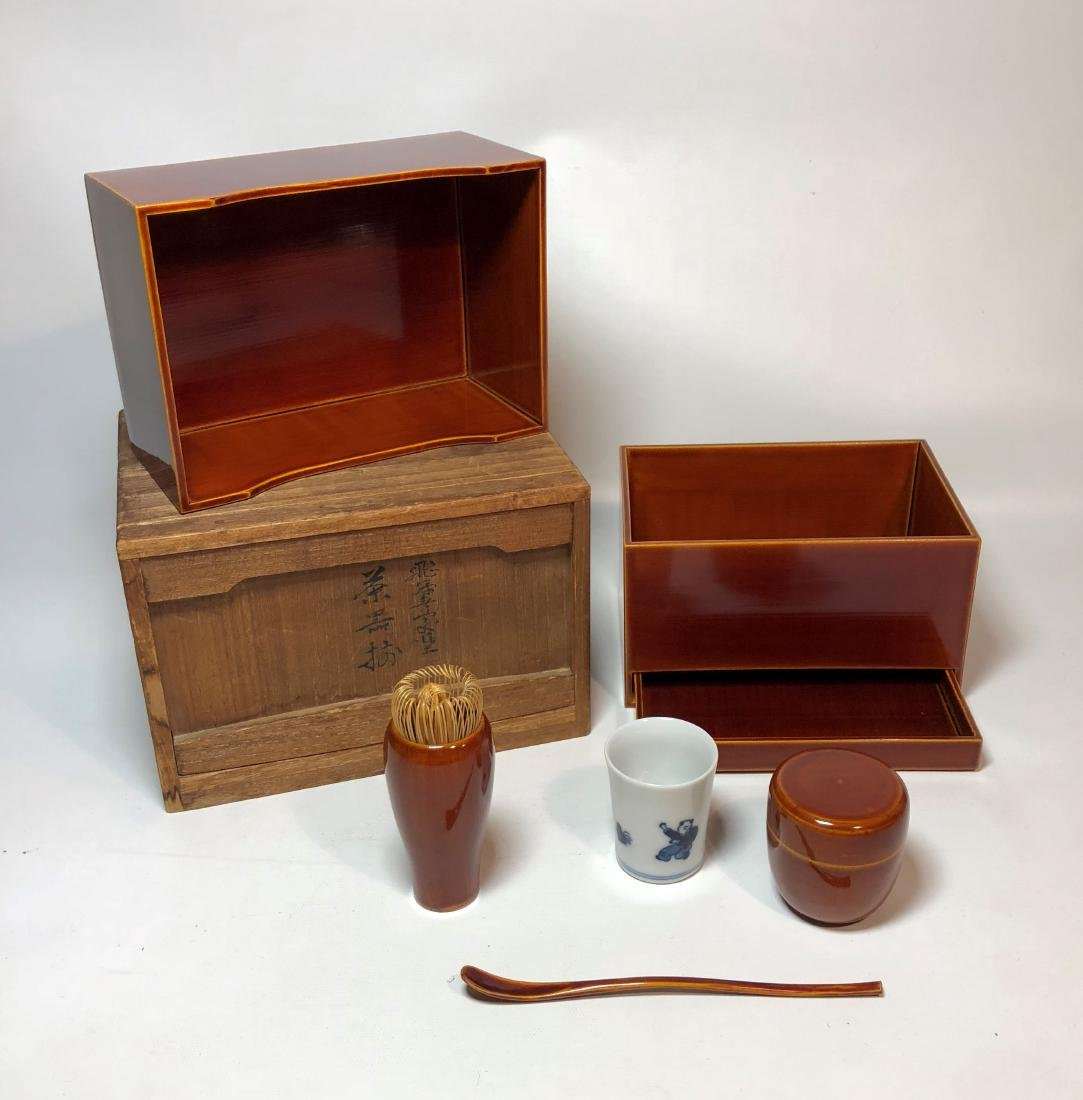 Tea Serving Set in Red Lacquer Storage Box