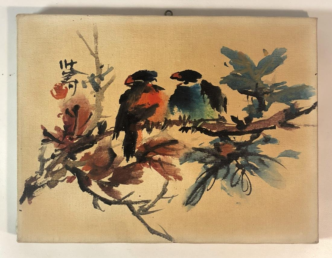 Watercolor on Canvas Painting of Two Birds