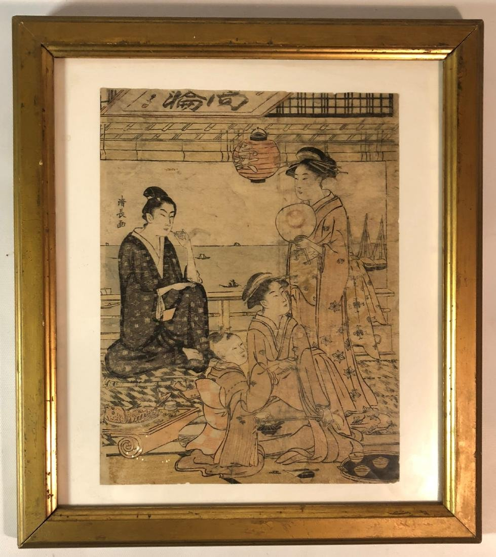 Japanese Wood Block Painting of Family