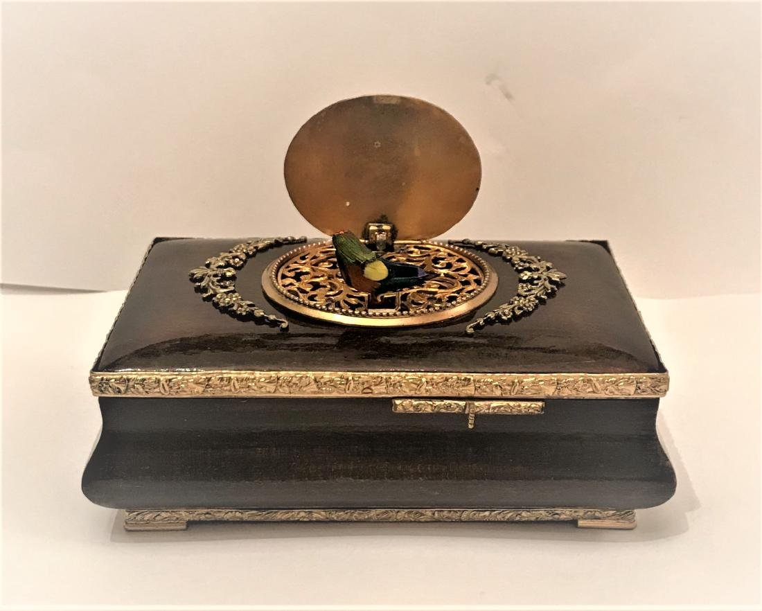 Lacquered Wood in Bronze  Automaton Singing Bird Box