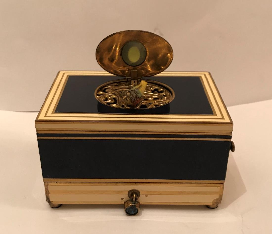 Enamel and Bronze Automaton Singing Bird  Box