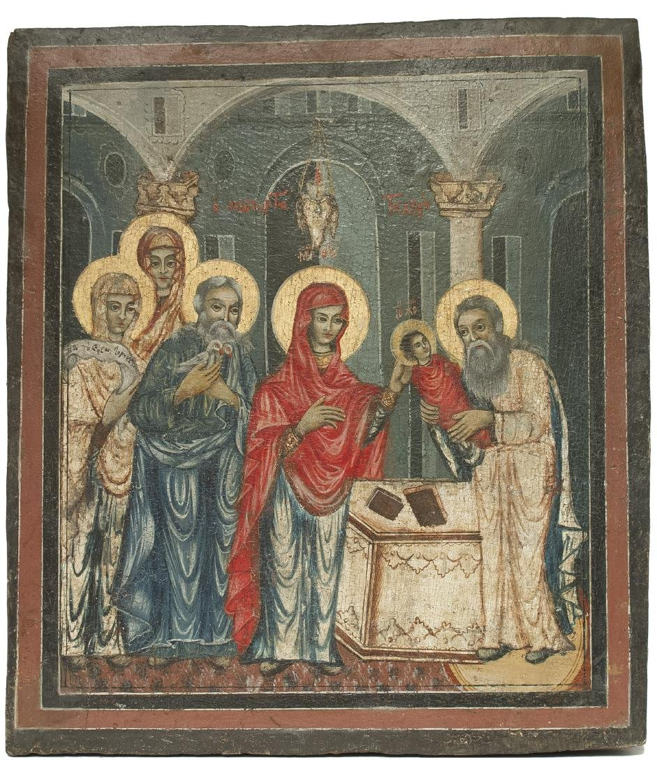 Greek Icon: PRESENTATION OF CHRIST IN THE TEMPLE