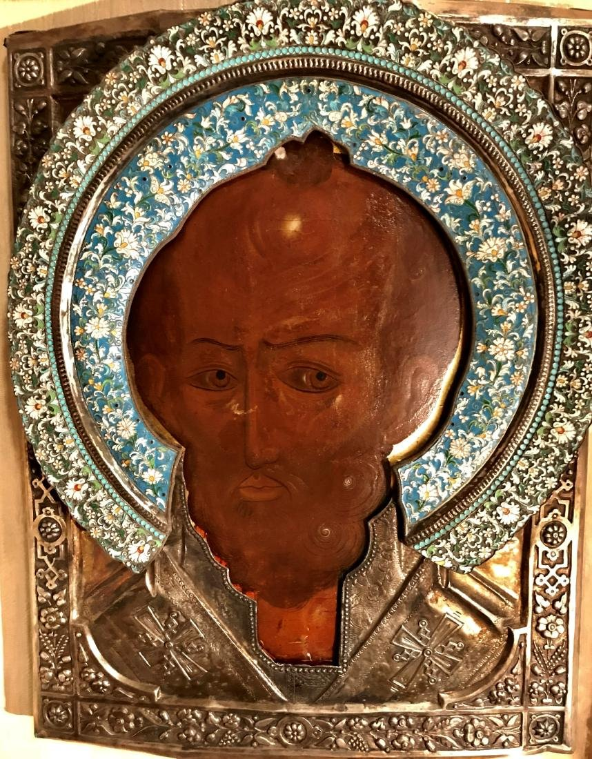 18c Russian Icon St. Nicholas Silver and Enamel