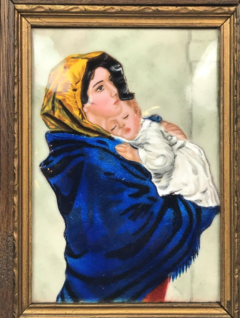 Painting of Mother hollering Sleeping Baby