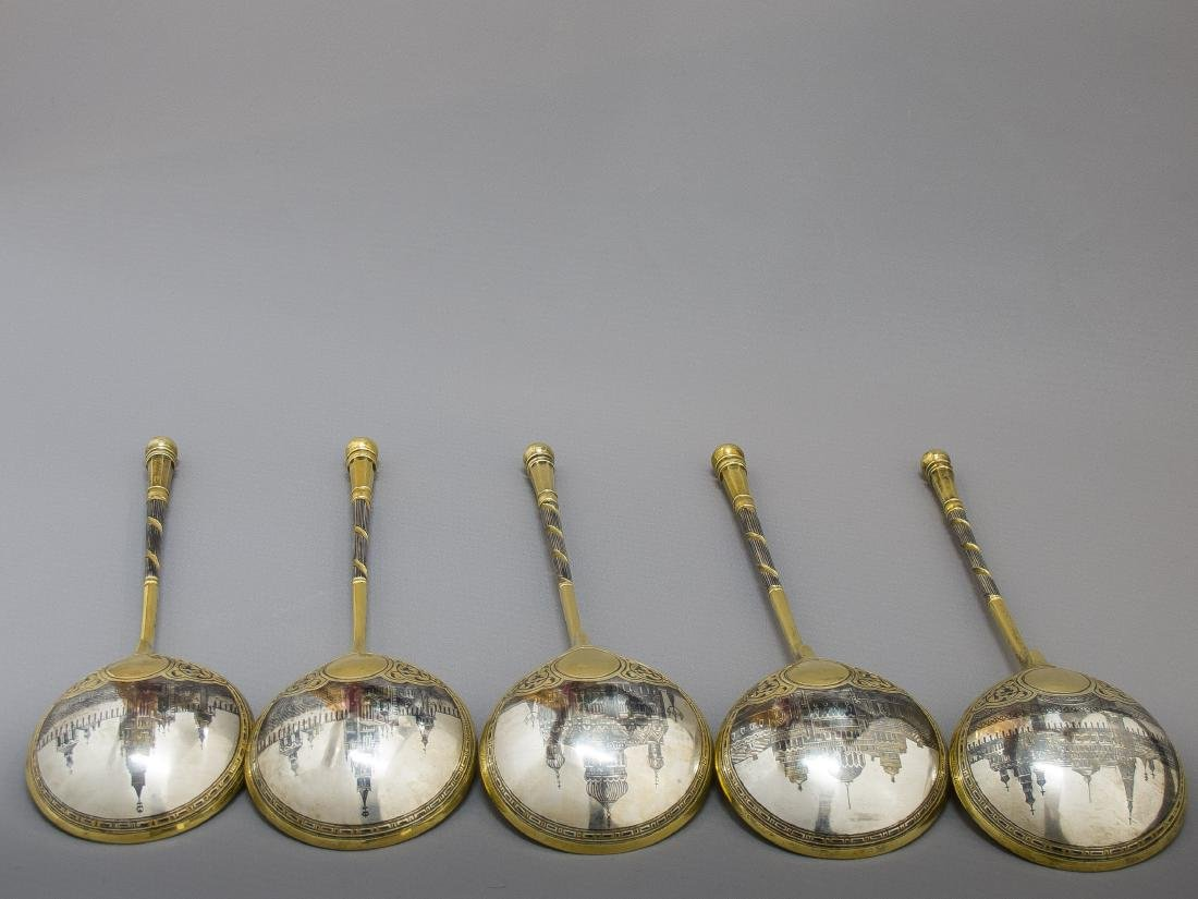 Five Russian Silver-Gilt & Niello Spoons