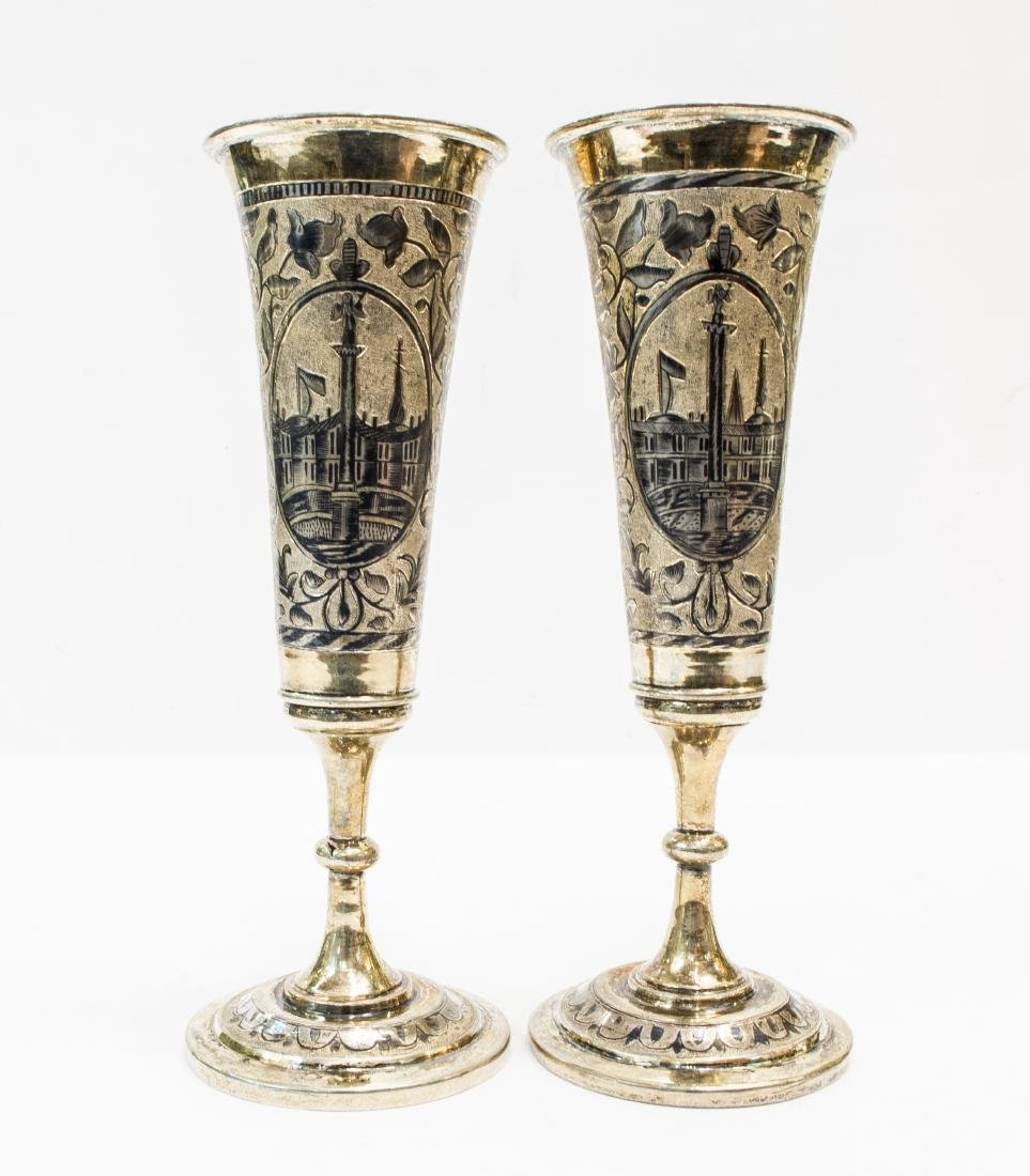 Set of Russian Silver and Gilt Champaign Flute