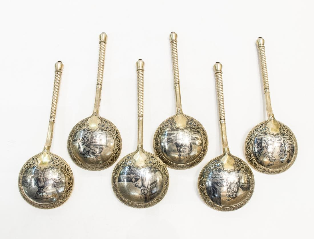 A Set of Six Russian Silver-Gilt & Niello Spoons