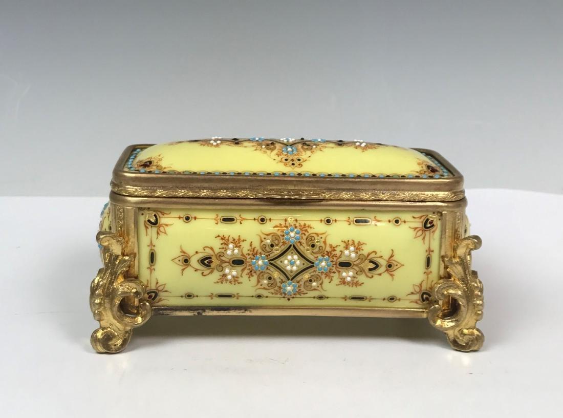 Gilt and Stone Padded Jewelry Box
