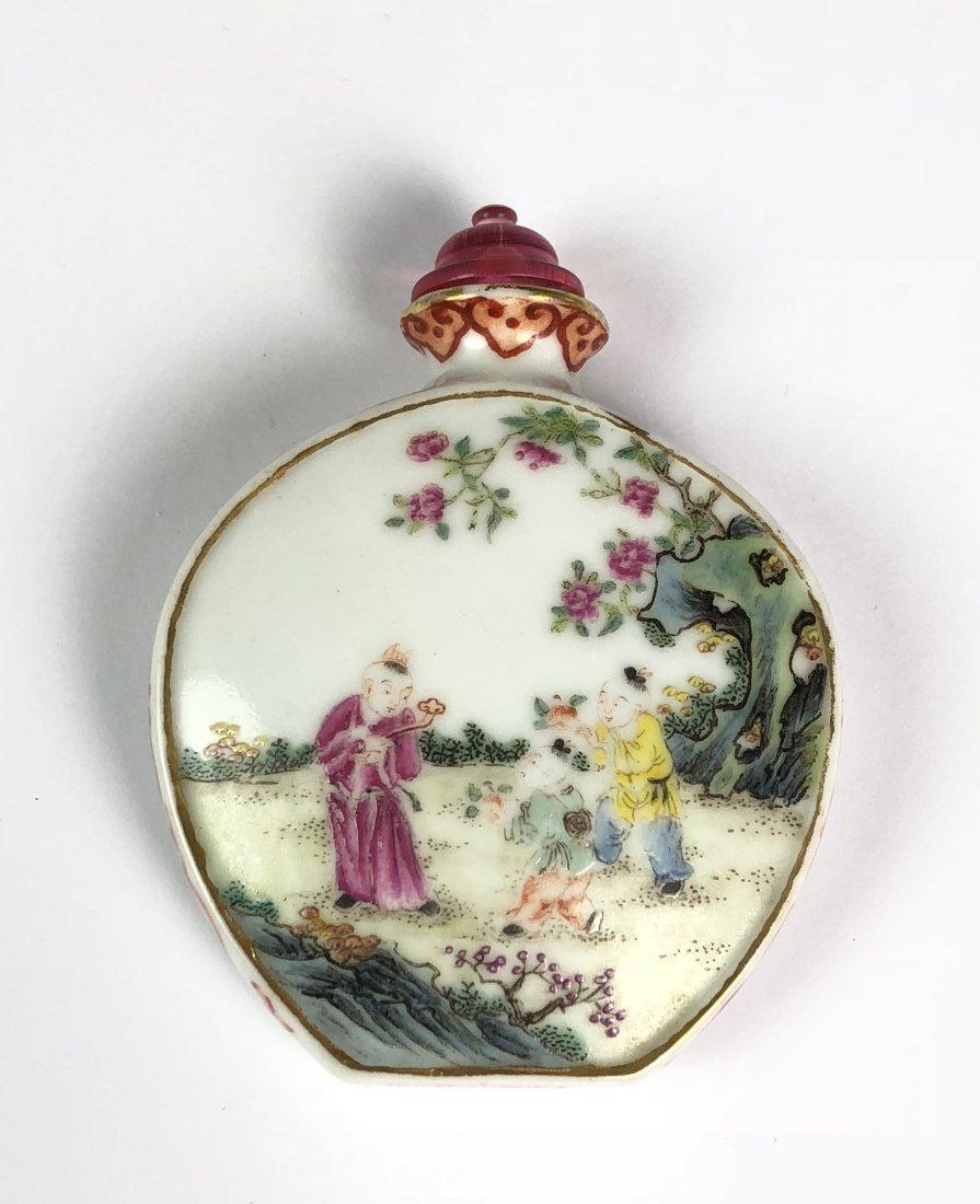 Chinese Famille Rose Porcelain Snuff Bottle W Mark