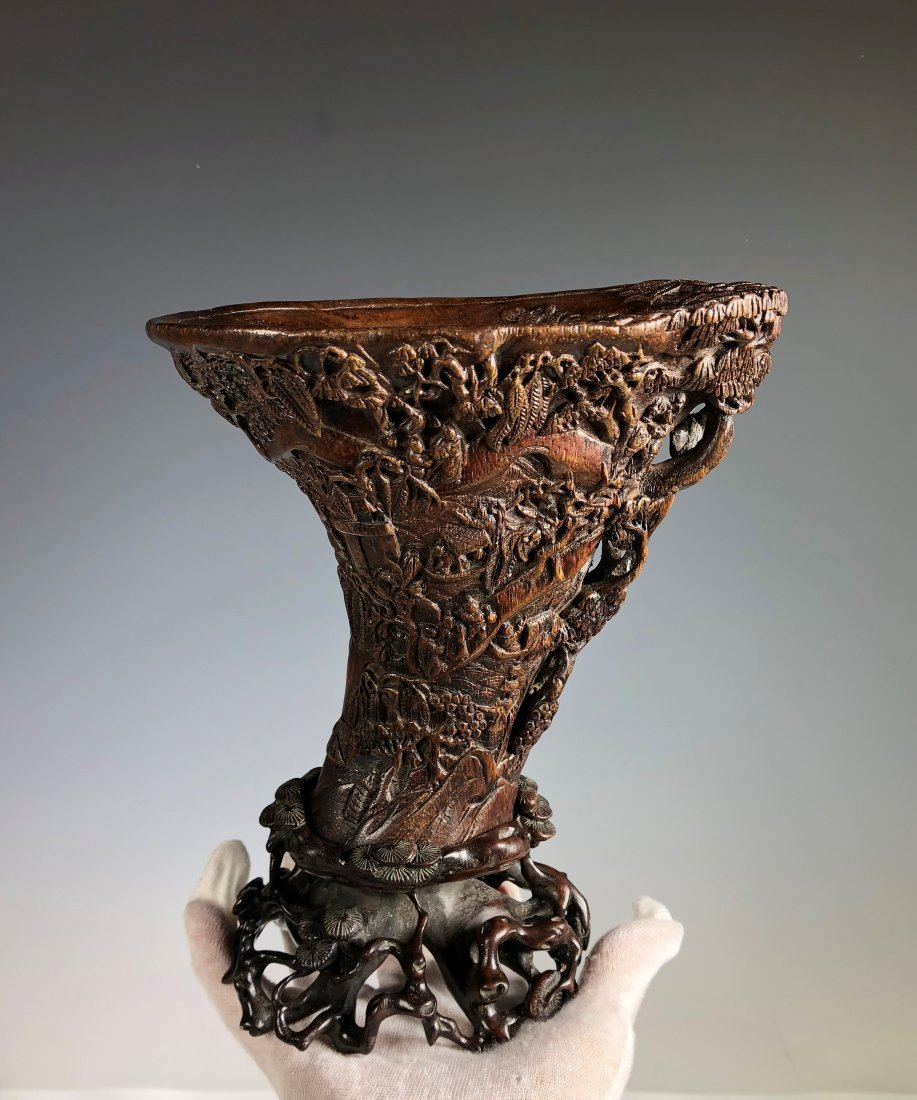 A Chinese Antique Agarwood Chen Xiang Libation Cup