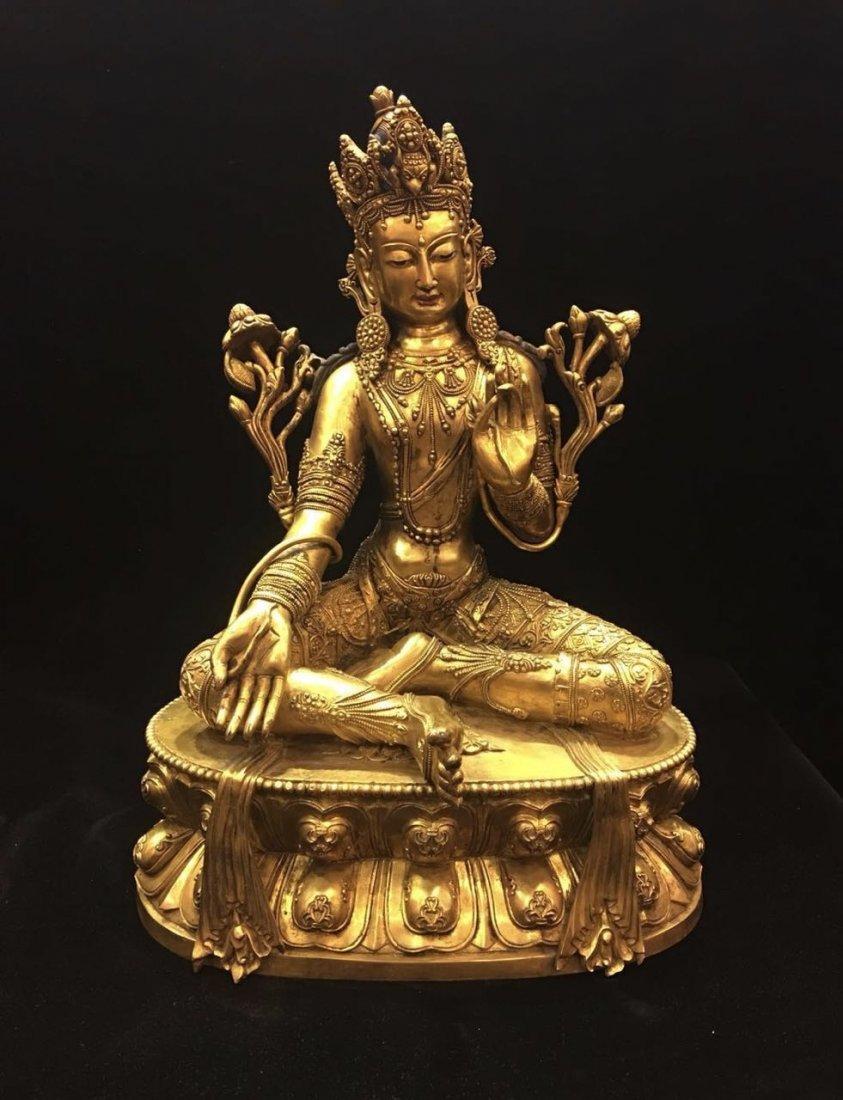 Large Gilt Figure Of Buddha