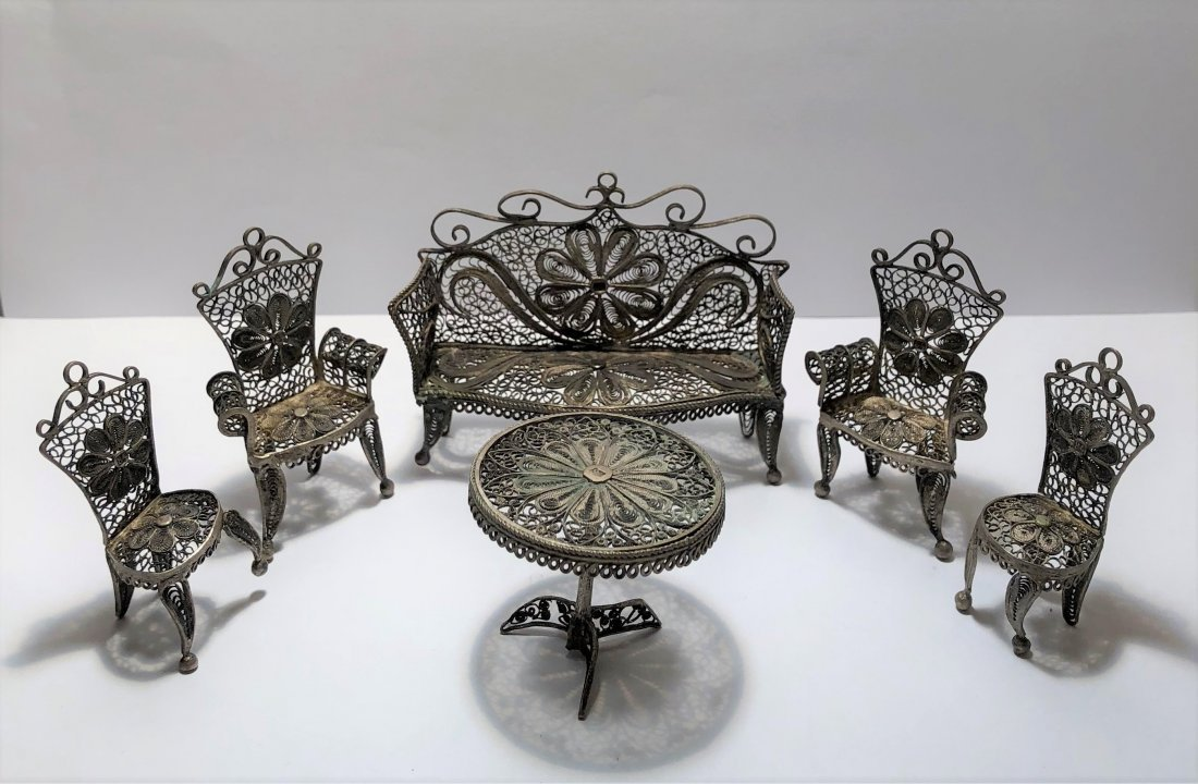 19c Miniature Silver Dining Set