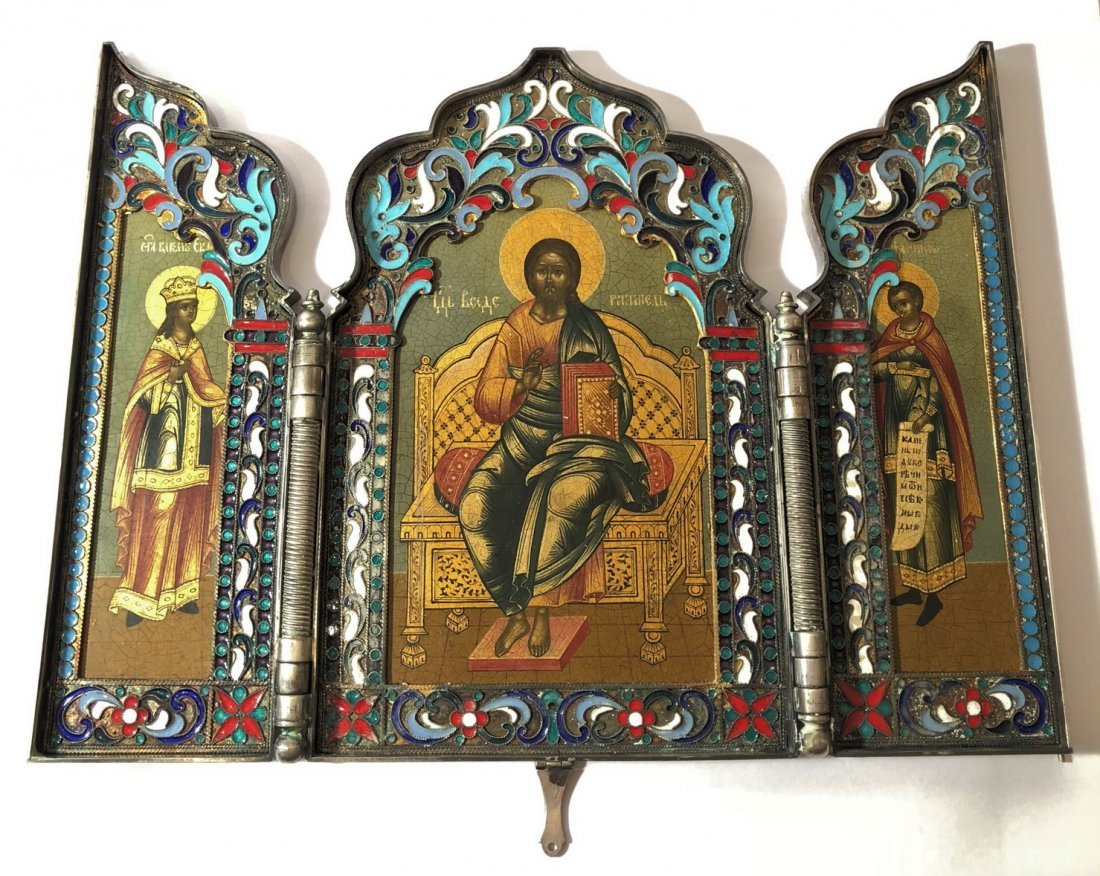 Russian Imperial Silver 84 Enamel Travel Triptych Icon