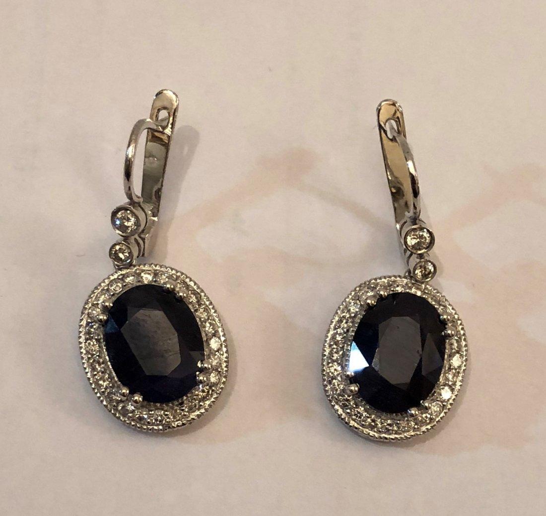 14k White Gold Earrings  Diamonds and Blue Sapphire