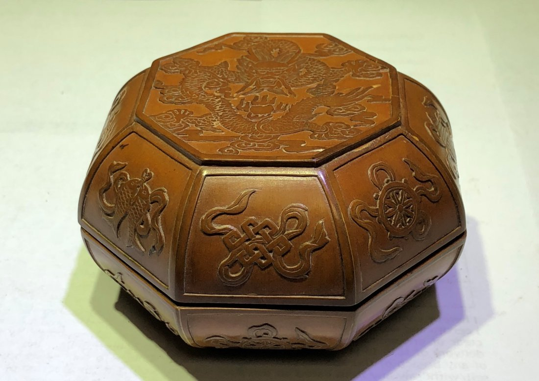 A Chinese Bamboo Box With Dragon & Mark